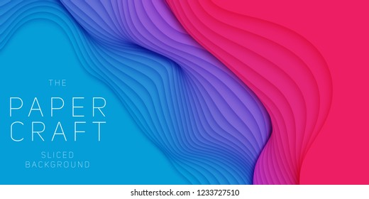 Vector 3D abstract background with paper cut neon shape. Colorful carving art. Paper craft Antelope canyon landscape with gradient colors. Minimalistic design for business presentations, flyers