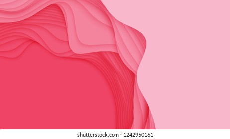 Vector 3D abstract background with paper cut shape. Colorful red carving art. Paper craft Antelope canyon landscape with soft gradient colors. Minimalistic design for business presentations, flyers