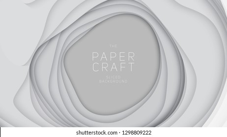 Vector 3D abstract background with paper cut shapes. White carving art. Paper craft landscape with gradient fade colors. Minimalistic design layout for business presentations, flyers, posters
