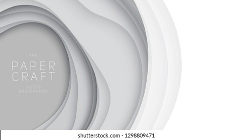 Vector 3D abstract background with paper cut shapes. White carving art. Paper craft landscape with gradient fade colors. Minimalistic design layout for business presentations, flyers, posters.