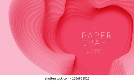 Vector 3D abstract background with pink paper cut heart shape. Light red carving art. Paper craft heart for Valentine's Day. Minimalistic design for love cards, posters etc