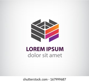 vector 3d abstract colorful geometric construction logo for company, identity