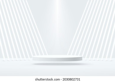Vector 3D abstract studio room with pedestal podium. White geometric platform floating on air with perspective neon tube. Futuristic scene for cosmetic products display. Showcase, Promotion display.