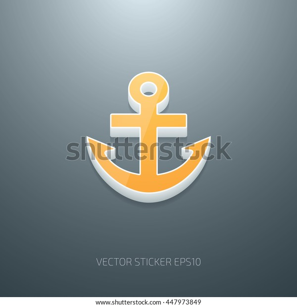 Vector 3d anchor icon. White and yellow glossy plastic on gray