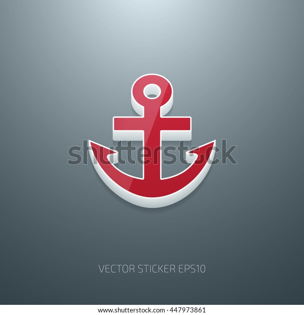 Vector 3d anchor icon. White and red glossy plastic on gray