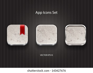 Vector 3d app icons with grungy concrete texture