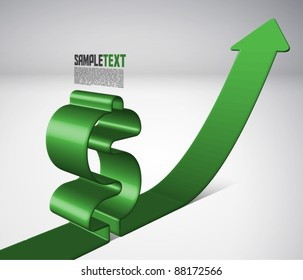 Vector 3D Arrow Moving Upward with Dollar Sign