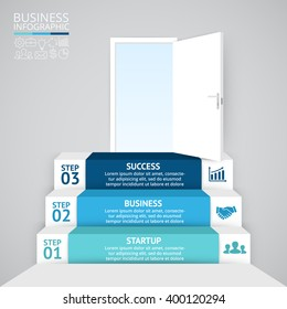 Vector 3d arrows infographic. Template for diagram, graph, presentation, up chart. Business startup infographics concept with 3 options, parts, steps, processes. Open door to success future.