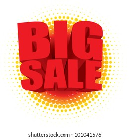 Vector 3D big sale text bursting out of a radial halftone pattern