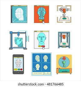 Vector 3D bio-printers with human head. Medical 3D printing technology symbols. Concept of future biological engineering. Flat design illustration isolated on white
