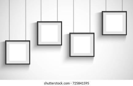 Vector 3d blank black hanging frames