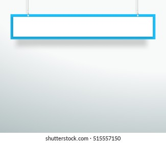 Vector 3d Blank Blue 1 Line Title Banner Hanging Design