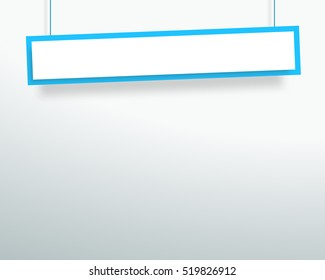 Vector 3d Blank Blue 1 Line Wonky Hanging Banner