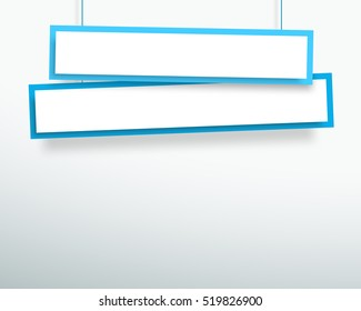 Vector 3d Blank Blue 2 Line Wonky Hanging Banners