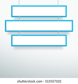 Vector 3d Blank Blue 3 Line Title Banners Hanging Design