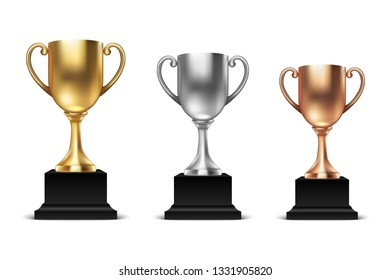 Vector 3d Blank Golden, Silver and Bronze Champion Cup Icon Set Closeup Isolated on White Background. Design Template of Championship Trophy. Sport Tournament Award, Winner Cup and Victory Concept
