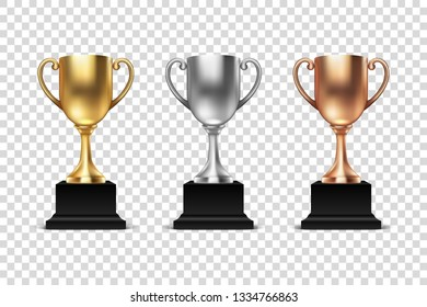 Vector 3d Blank Golden, Silver and Bronze Champion Cup Icon Set Closeup Isolated. Design Template of Championship Trophy. Sport Tournament Award, Winner Cup and Victory Concept
