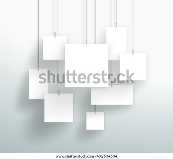 Векторный 3d пустой белый квадратный коробки Висячие дизайн