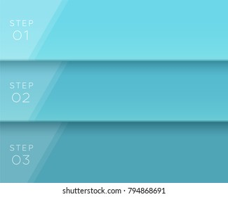 Vector 3D Blue Text Banner Page Template Steps 1 to 3