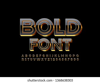 Vector 3D Bold Font. Stylish Black and Gold Alphabet Letters, Numbers and Symbols.