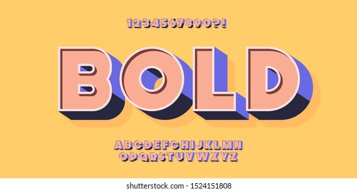 Vector 3D bold typeface colorful style trendy typography for for t shirt, game, book, racing, infographics, motion graphics, video, promotion, poster, decoration, banner, printing. Modern font. 10 eps