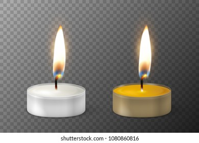 Vector 3d burning realistic candle light or tea light flame icon set closeup isolated on transparency grid background. Tea candle or candle in a case. Design template, clipart for graphics. Happy