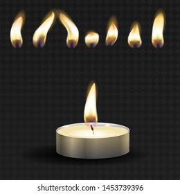 Vector 3d burning realistic candle light or tea light and different flame of a candle icon set closeup isolated on transparency grid background. Tea candle or candle in a case. For animation