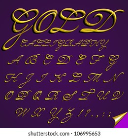Vector 3d calligraphic gold font, capital, letters