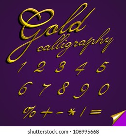 Vector 3d calligraphic gold font, numbers digits