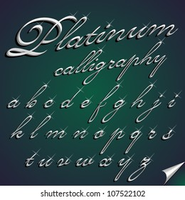 Vector 3d calligraphic gold font, small letters