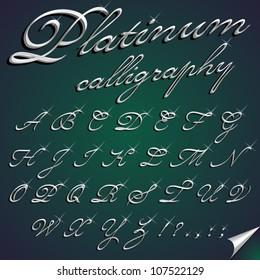 Vector 3d calligraphic platinum font, capital letters