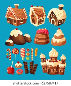 Vector 3D cartoon icons of sweets gingerbread houses, cake castles, chocolate, various lollipops to create your own graphic design. Elements of design for games