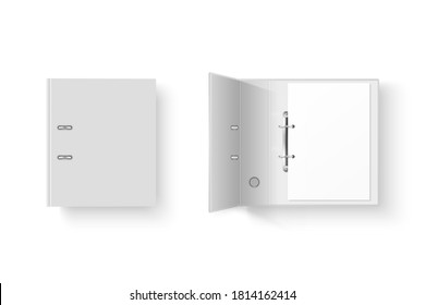 Vector 3d Closed Realistic White and Black Blank Office Binder with Metal Rings for A4 Paper Sheet Closeup Isolated on White Background. Design Template, Mockup, Top View