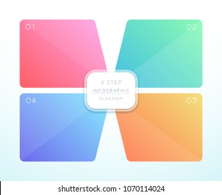 Vector 3d Colorful 4 Square Infographic Design