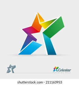 Vector 3d colorful star logo design element. Easy editable.