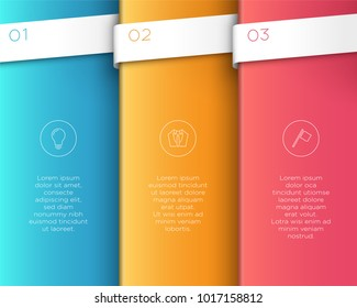 Vector 3D Colorful Vertical Text Banner Steps 1 to 3