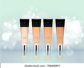 Vector 3D cosmetic illustration foundation, bb cc cream make up product. Package design with bottle. Ads, magazine or catalog template design on commercial background