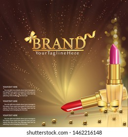 Vector 3D cosmetic illustration for the promotion of lipstick premium product. Red lipstick, pink lipstick with golden pearls.