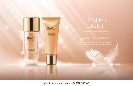 Vector 3D cosmetic illustration for the promotion of foundation premium product. Colorstay make-up in glass bottle and tube on a soft beige background with a feather