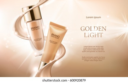 Vector 3D cosmetic illustration for the promotion of foundation premium product. Colorstay make-up in glass bottle and tube.