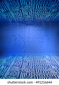 Vector 3d cyberspace background. Circuit board blue space.