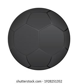 Vector 3D dark gray soccer ball template. Football illustration.