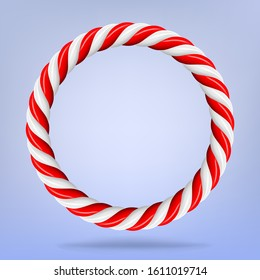 Vector 3d design rendering of circular candy circle cane frame