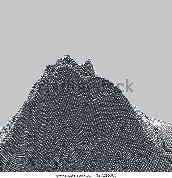 Vector 3d Digital Landscape Black White Stock Vector Royalty Free 329216909