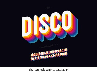 Vector 3d disco font bold style modern typography. Cool vintage typeface for decoration, logotype, poster, t shirt, book, card, sale banner, printing on fabric, industrial. Trendy alphabet. 10 eps