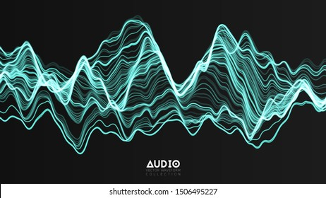 Vector 3d echo audio wave from a spectrum. Abstract music waves oscillation graph. Futuristic sound wave visualization. Green glowing impulse pattern. Synthetic music technology sample.