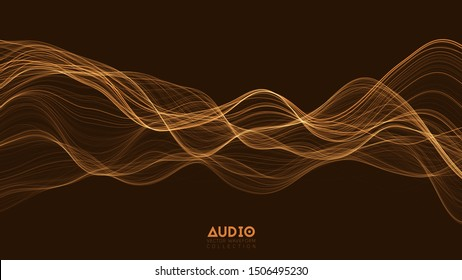 Vector 3d echo audio wave from a spectrum. Abstract music waves oscillation graph. Futuristic sound wave visualization. Orange glowing impulse pattern. Synthetic music technology sample.