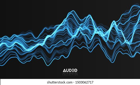 Vector 3d echo audio wavefrom spectrum. Abstract music waves oscillation graph. Futuristic sound wave visualization. Blue glowing impulse pattern. Synthetic music technology sample.