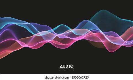 Vector 3d echo audio wavefrom spectrum. Abstract music waves oscillation graph. Futuristic sound wave visualization. Colorful glowing impulse pattern. Synthetic music technology sample.