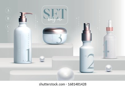 Vector 3D elegant cosmetic products set background premium cream jar packaging for skin care. Luxury facial cream. Cosmetic ads flyer or banner design. Cosmetic cream template. Makeup products brand